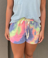 French Terry Tie Dye Drawstring Shorts