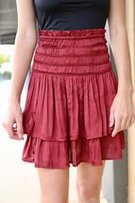 Smock waist tiered skirt
