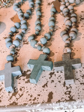 Wood Bead Rosary w/ Cross