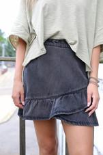 Washed Black Ruffle Denim Skirt