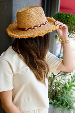 Frayed Edge Sun Hat with Maroon Braided Leather Detail