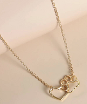 Bulldog Paw to My Heart Necklace