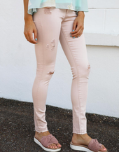 AG The Farrah Skinny Ankle Distressed Rose Quartz