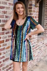 Katie Dress - Cocktail Stripe Sequins