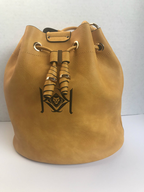 Includes Draw String & Cross Body Bundle For One Price Color:  Mustard With Black Embroidery Letters  100% VEGAN MATERIAL: Eco-friendly and safe- Stay true to your fashion and environmental principles with this earth conscious product.