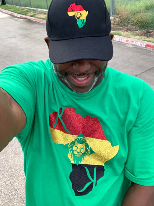 """KDK Green  Afrocentric  3 Color Glitter Tee  """"We Originate and Never Imitate"""" """"A Step Above"""" """"Set A Part"""""""