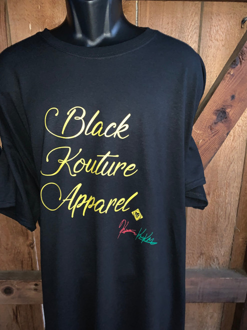 "Black Yellow Kouture Apparel Designer Tee   ""We Originate and Never Imitate"" ""A Step Above"" ""Set A Part"""