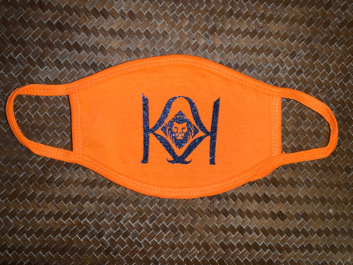 Orange Mask with Blue K Logo