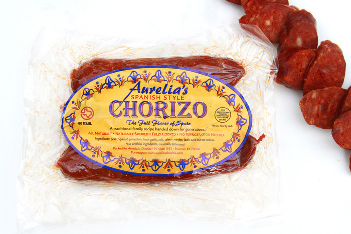 Aurelia's Artisan Spanish Chorizo comes in an 8 oz package with 3 links per package.  We produce small artisan batches using fresh garlic and Spanish Paprika from the de la Vera region of Spain.