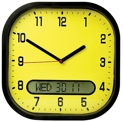 CLEAR TIME DAY DATE WALL CLOCK YELLOW