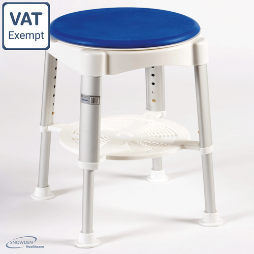 STURDY ROTATING SHOWER STOOL BLUE