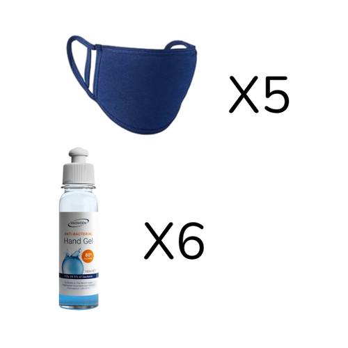 Bundle Of 6 X 100ml Sanitisers & 5 X Navy Face Masks
