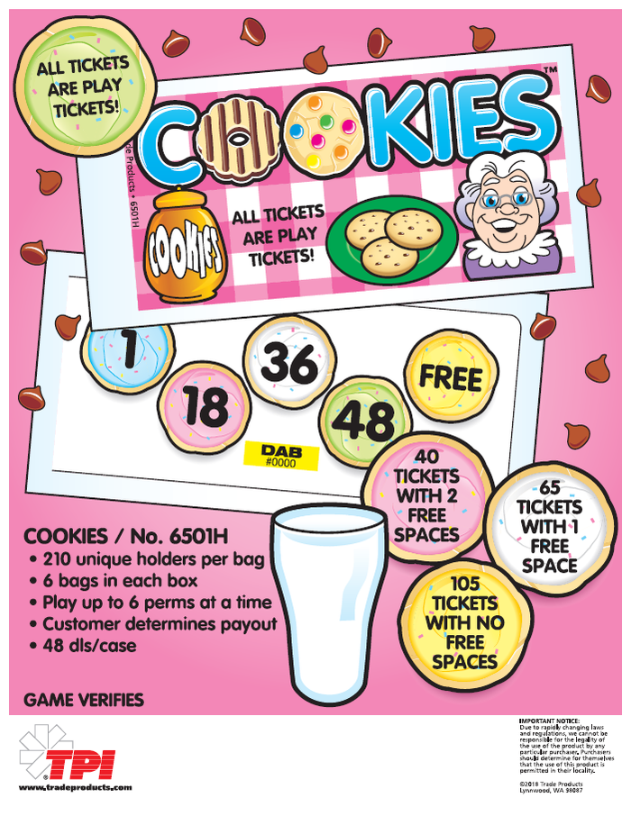 Cookies Bingo Event Ticket 6 Count