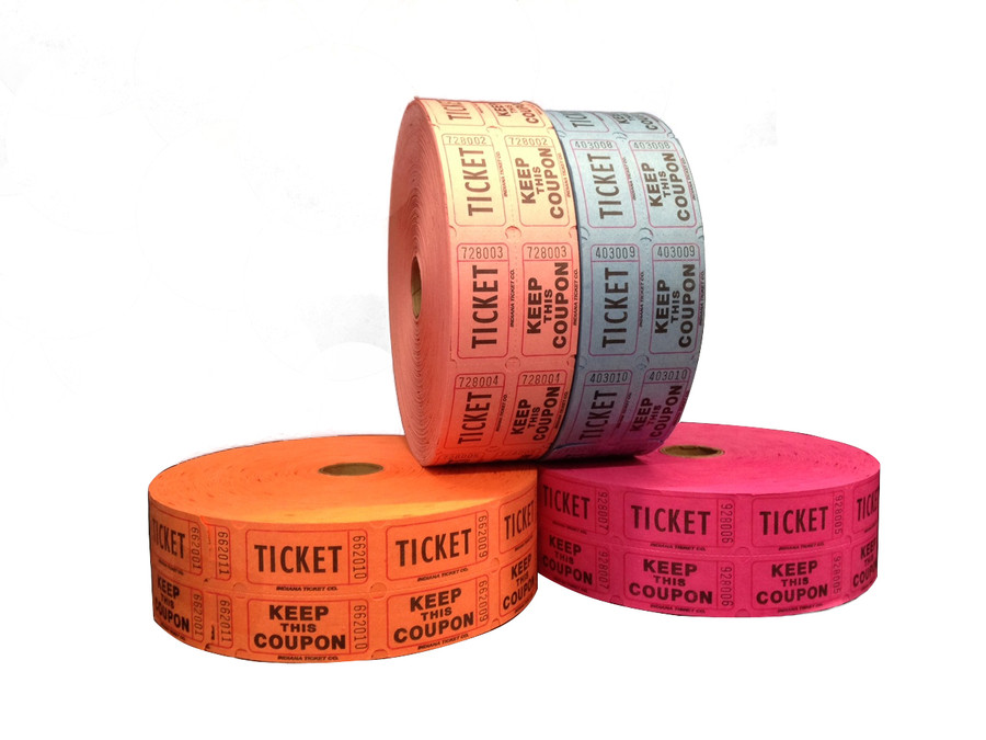 Double Raffle Ticket Roll - Assorted Colors