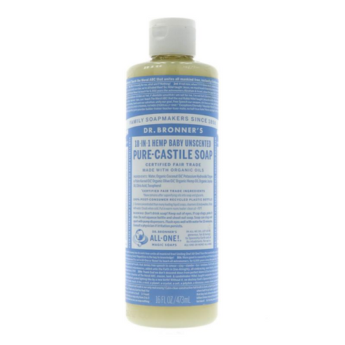 Dr Bronner's Hemp Baby Unscented Liquid Soap 473ml