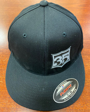 Black flex fit hats with 35 crest patch