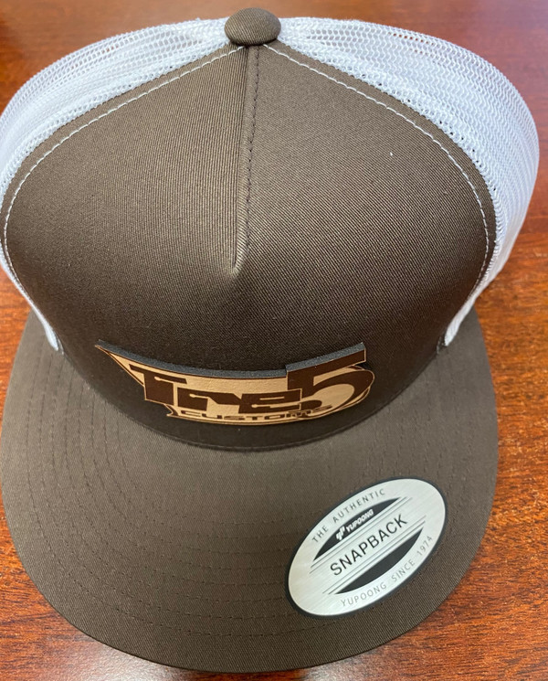Brown/ white mesh patch snap back