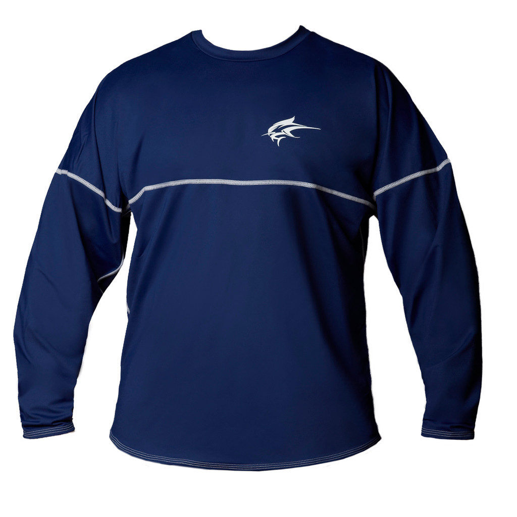Ocean Rider Sun Protective Clothing   Men's Performance UPF 50 Long Sleeve Jersey   Navy   Front