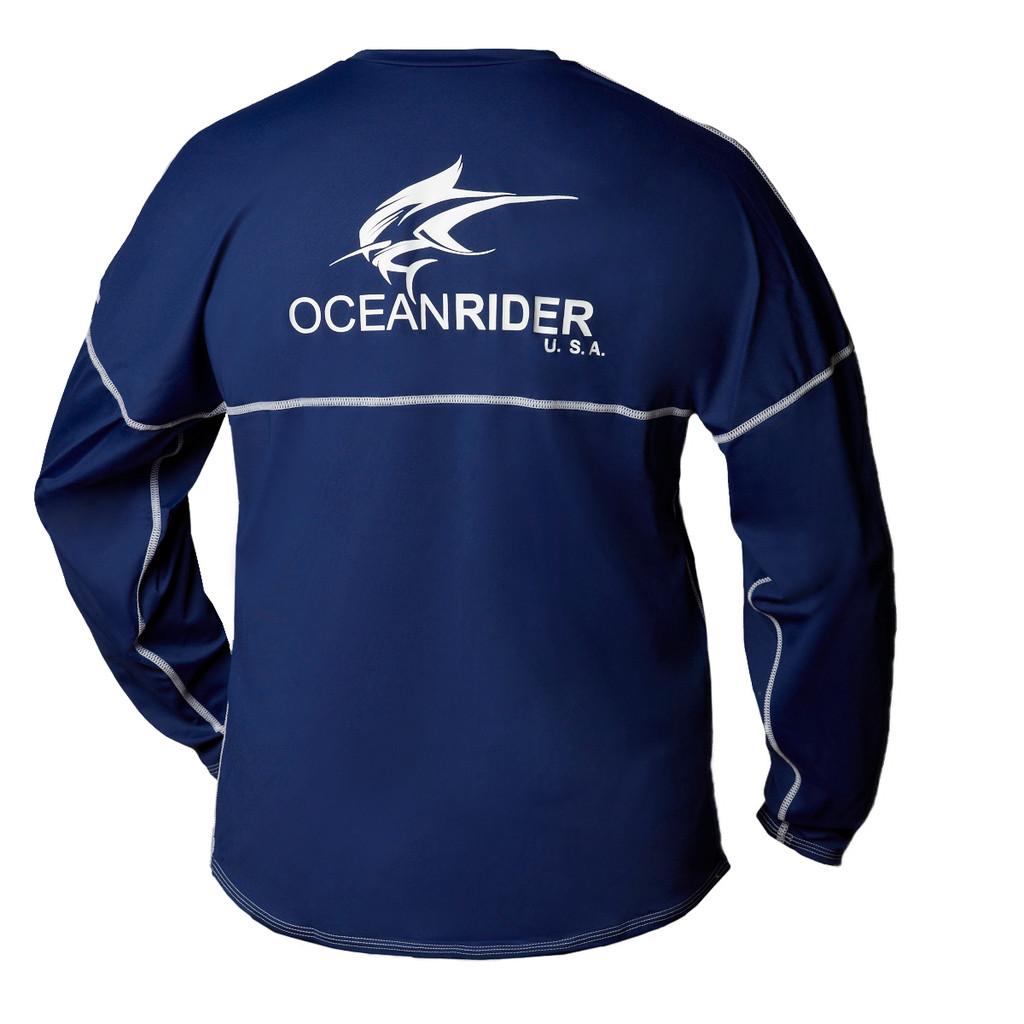 Ocean Rider Sun Protective Clothing   Men's Performance UPF 50 Long Sleeve Jersey   Navy   Back