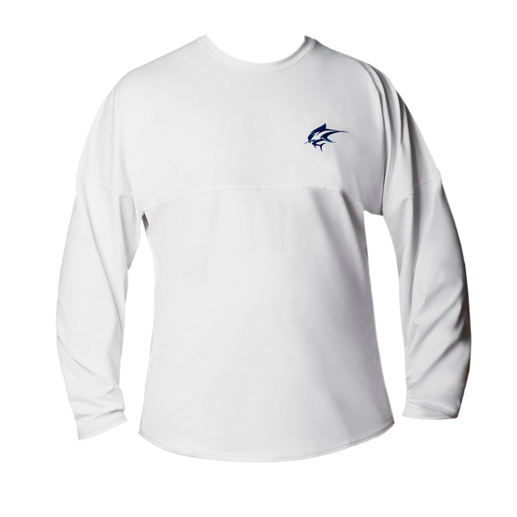 Ocean Rider Sun Protective Clothing   Men's Performance UPF 50 Long Sleeve Jersey   White   Front