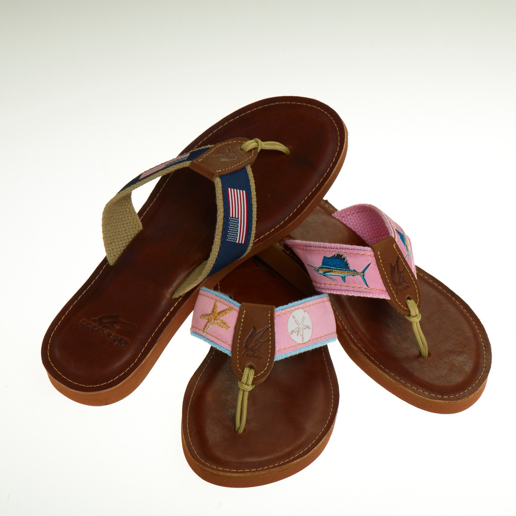 Women's Leather Sandals with Blue Ribbon Design