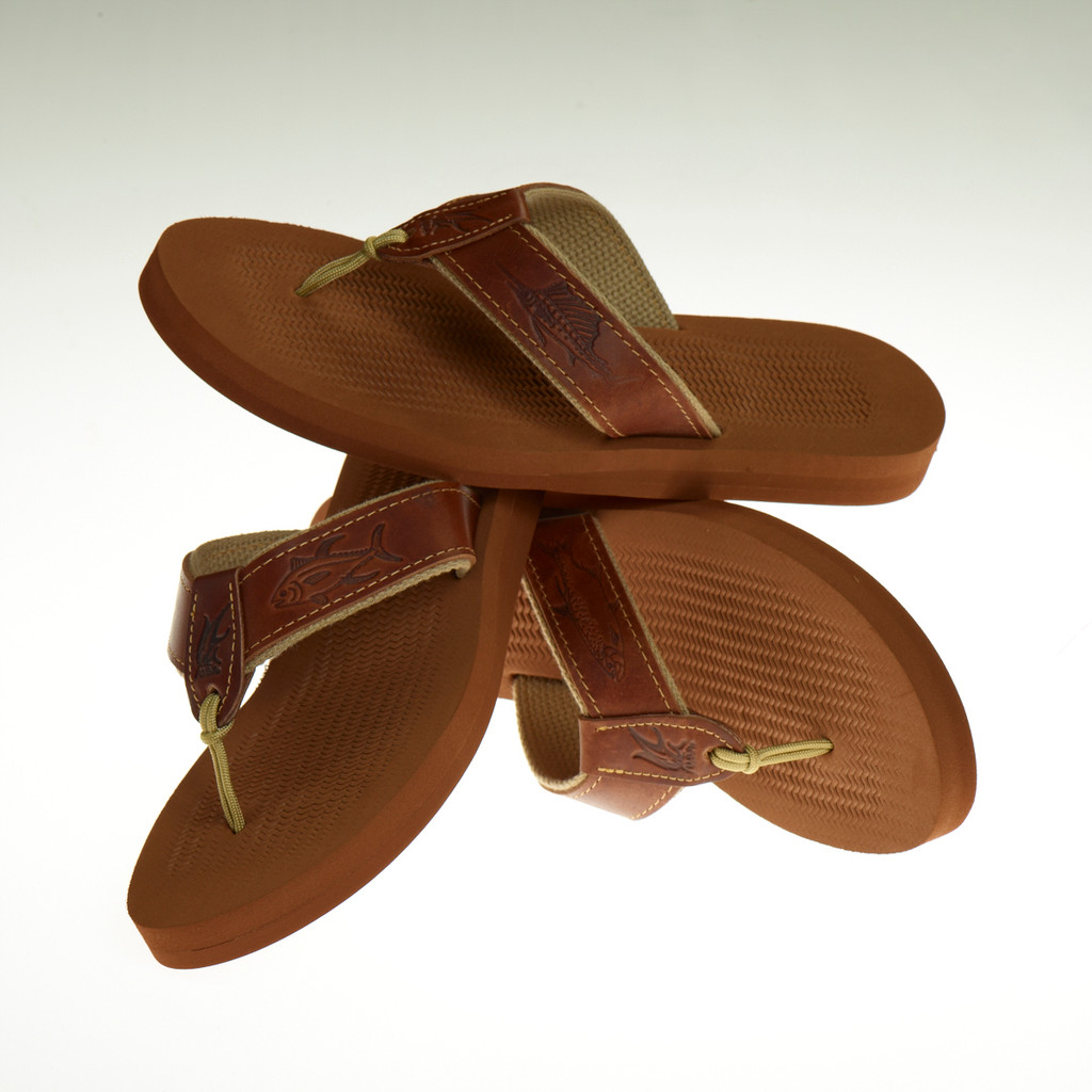 Men's Non-Skid Rubber Sandals with Embossed Leather Design