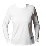 Ocean Rider Sun Protective Clothing Women's Performance UPF 50 Shirt | White | Front | Made in the USA