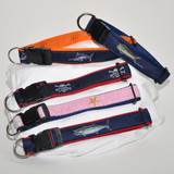 Dog Collar Embroidered | Red with Blue Marlin | Ocean Rider Brand | Made in the USA