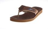 Men's Leather Footbed Sandal with Embroidered Leather.