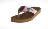 Women's Rubber Footbed Sandal with Embroidered Artwork on Webbing.