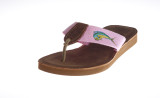 Women's Embroidered on Webbing Sandal with Leather Footbed.