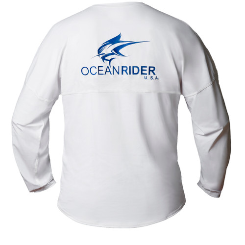 Ocean Rider Sun Protective Clothing   Men's Performance UPF 50 Long Sleeve Jersey   White   Back