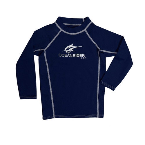 Navy Long Sleeve Ocean Rider Sun Protective Clothing for Kids - UPF 50 Kid's Shirt - Made in the USA