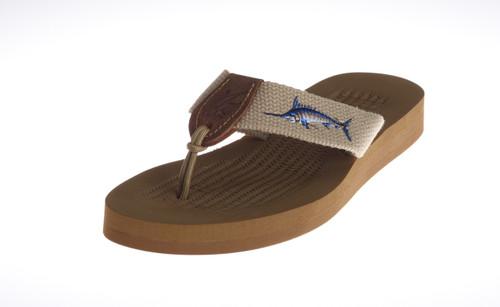 Men's Rubber Footbed Sandal with Embroidered on Webbing Artwork.