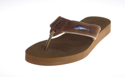 Men's Rubber Footbed Sandal with Embroidered Artwork on Leather.