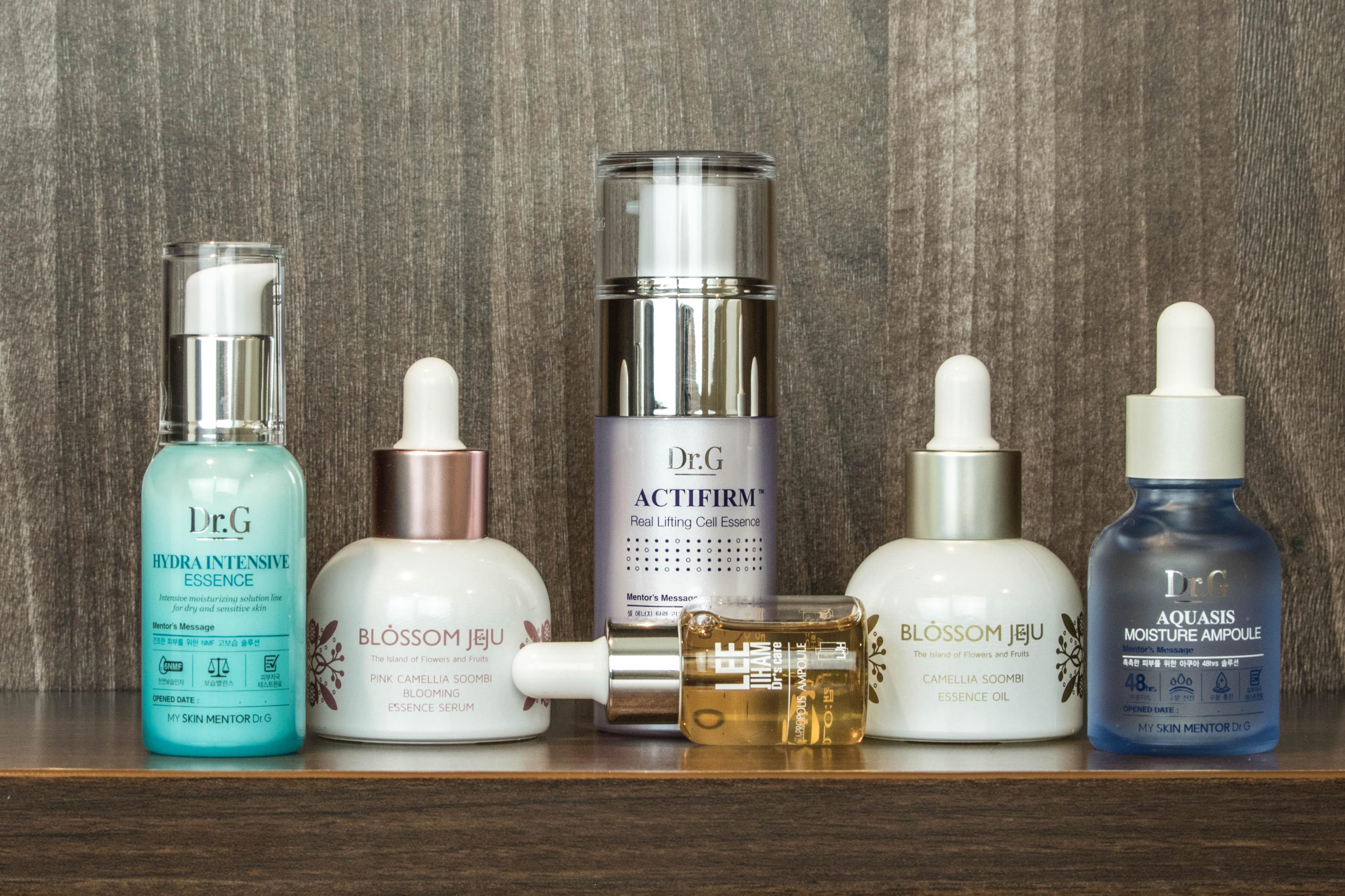 Korean skincare serums, ampoules, essences