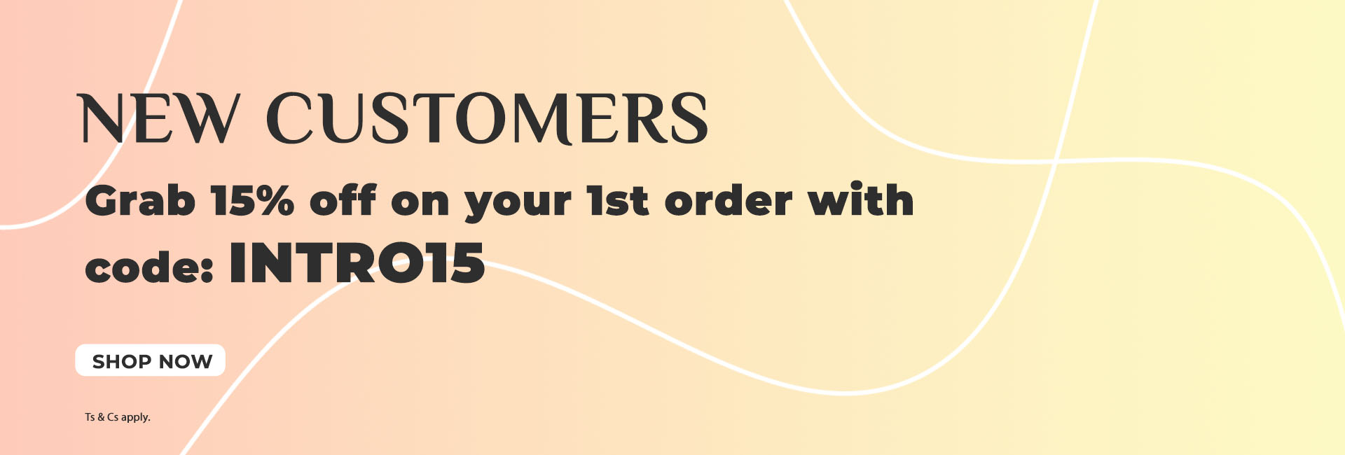 15% off for new customers