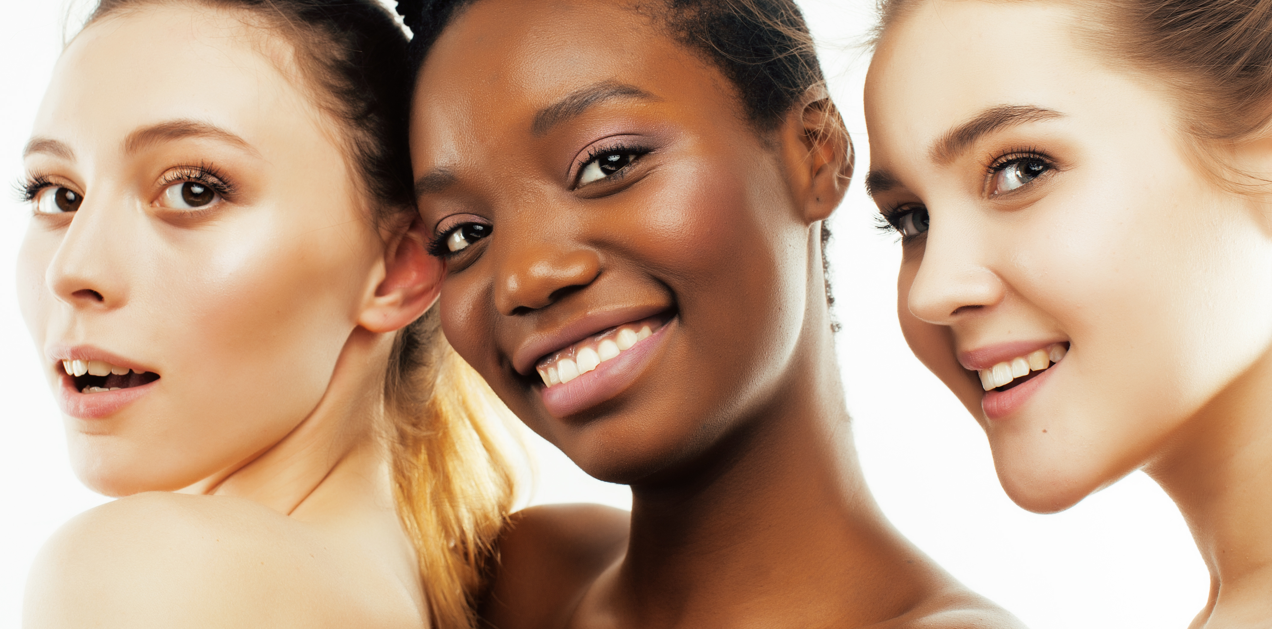 Korean beauty Skip-care texture of cosmetics three different nation woman: african-american, caucasian together isolated on white background happy smiling, diverse type on skin, hair, lifestyle real people concept