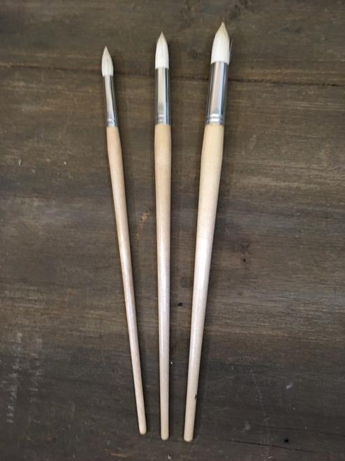 White Bristle Artist brushes - Round Pointed