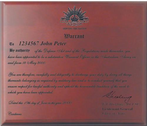 Laser Engraved Warrant, Commission or Degree