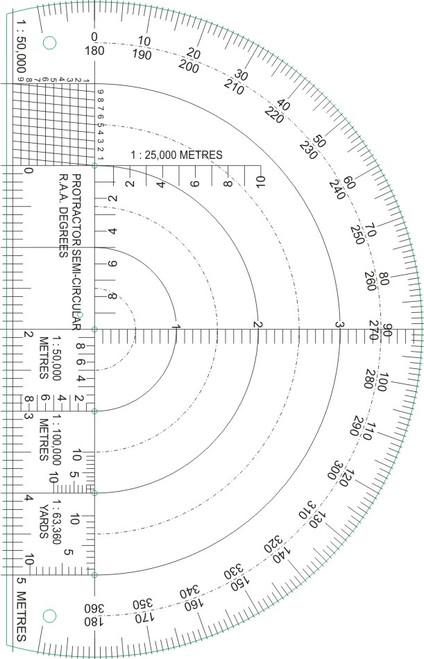 Protractor, Semi Circular, R.A.A. In Degrees