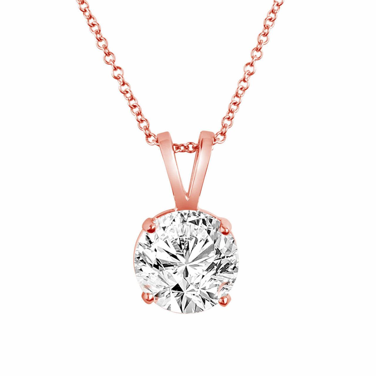 14k Rose Gold Solitaire Diamond Pendant Necklace 0 50 Carat Handmade Certified