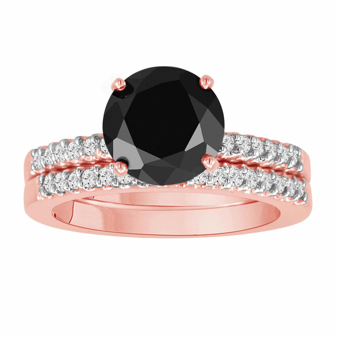 Black Diamond Engagement Ring Set Rose Gold Engagement