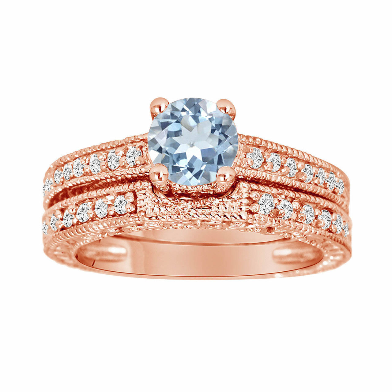 Aquamarine Diamond Engagement Ring Set Wedding Rings Sets