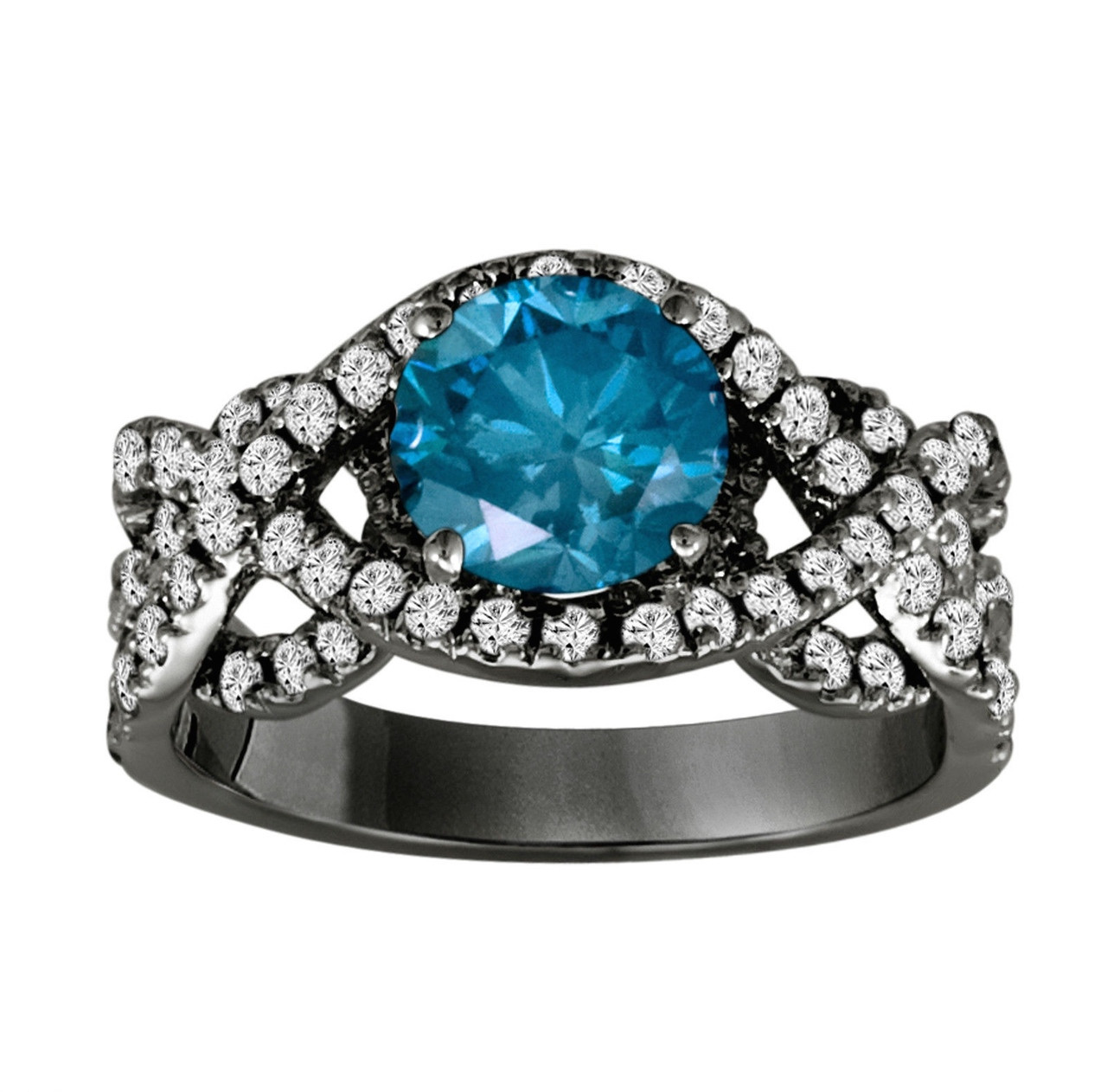 Fancy Blue Diamond Engagement Ring 14k Black Gold Vintage Style 1 90 Carat Certified Unique Handmade