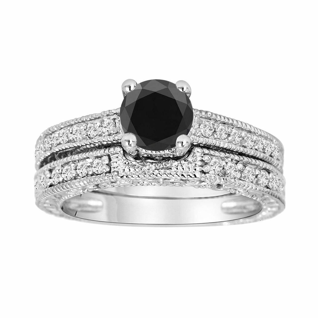 AAA Natural   Black Diamond Wedding Band Ring 14k White Gold-Specail