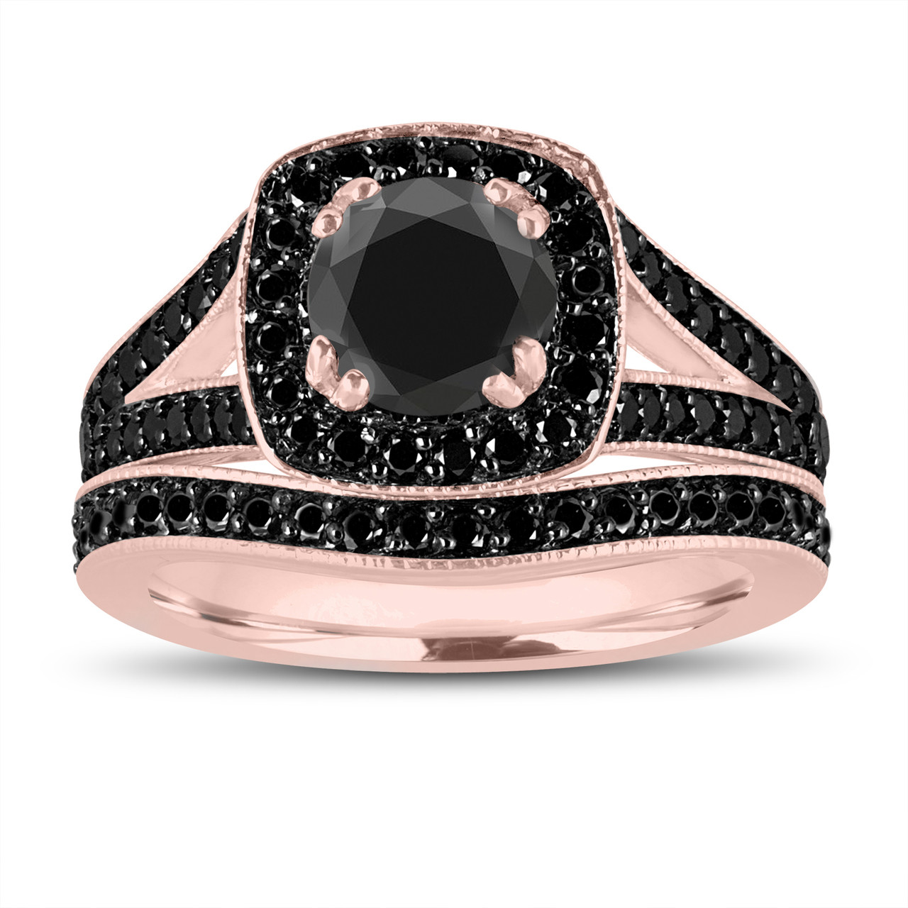 Fancy Black Diamonds Engagement Ring And Wedding Band Sets