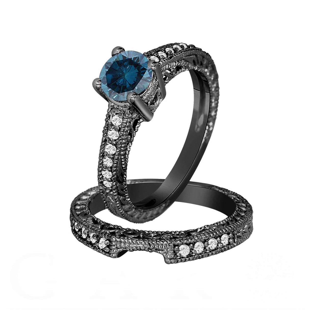 Fancy Blue Diamond Engagement Ring And Wedding Band Sets 14k Black Gold 1 26 Carat Antique Vintage Style Engraved