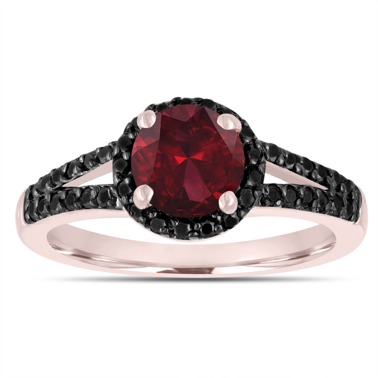 Red Garnet Engagement Ring 14k Rose Gold 1 44 Carat Unique Halo Handmade Birth Stone