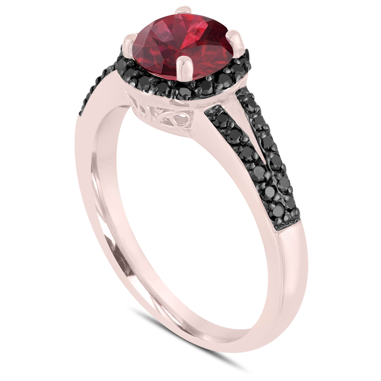 Garnet Black Diamond Engagement Ring 14k Rose Gold 1 24 Carat Unique Halo Handmade Birth Stone